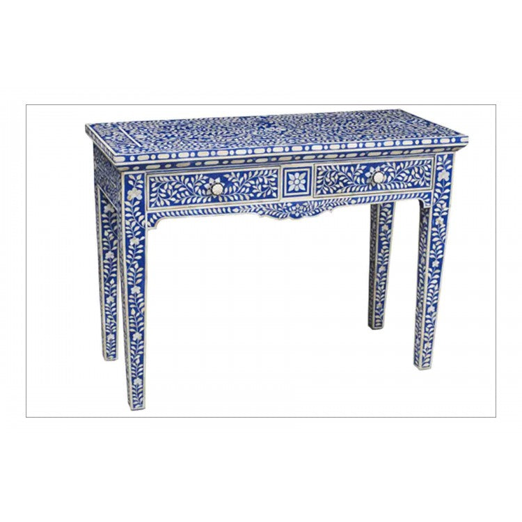 Blue Bone Inlay Two Drawer Console Table