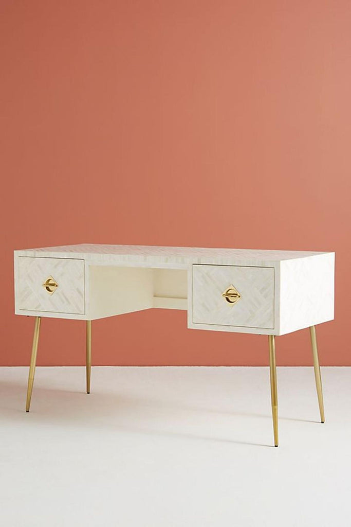 Bone Inlay Optical Design 2 Drawers Desk White, Optical Design 2 Drawers Console Table, Optical Design Study Table