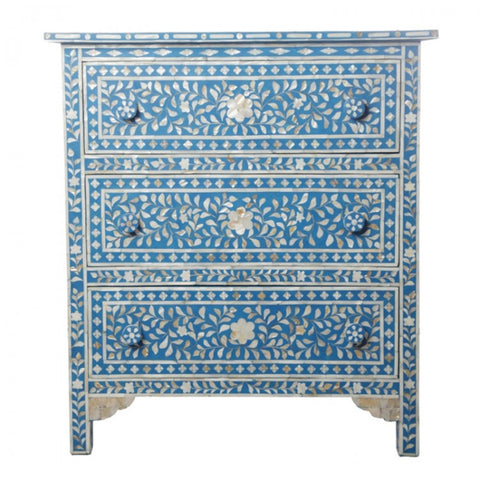 Royal Blue Mother Of pearl 3 drawer Sideboard
