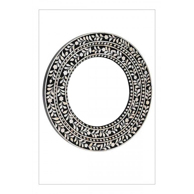 Bone inlay Round Mirror Frame