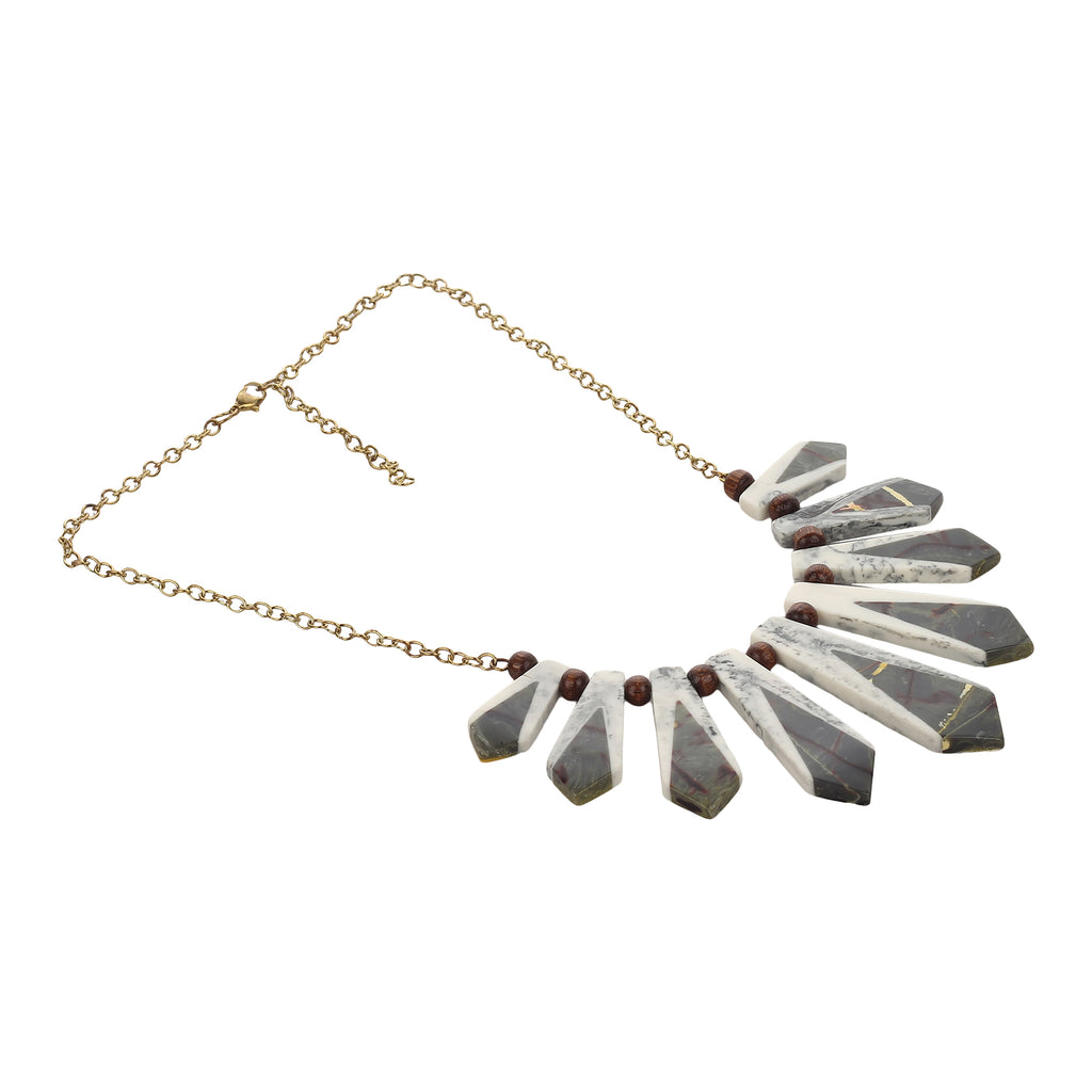Western Wear White & Gray Handmade Necklace with Golden Chain