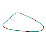 Menthome Tiny Beaded Blue & Rainbow Colored Handmade Choker Necklace with Adjustable Chain For Women And Girls (Blue & Rainbow Beaded Necklace)