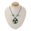 Fashion Green Resin Locket with Sky Blue Beads Necklace