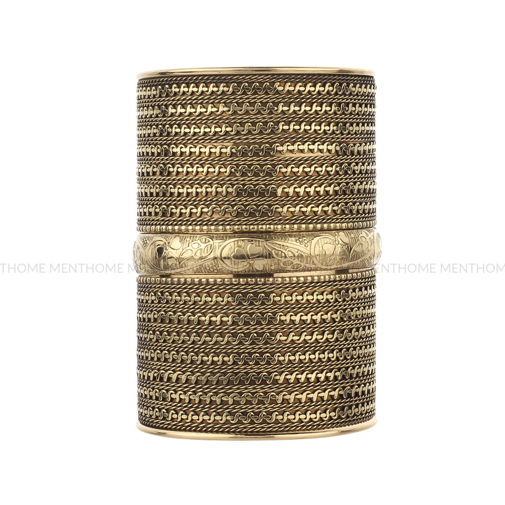 Designer Open Wide Smooth Cut-Work Golden Cuff Bangle Brass Bracelet