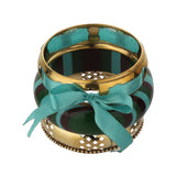 Fashion Sky Blue & Golden Metal and Resin Handmade Bangle Set Bracelet