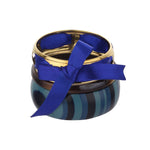 Designer Blue Resin & Golden Brass Handmade Bangle Set Bracelet
