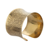 Designer Golden Metal Cuff Bangle Handmade Brass Bracelet