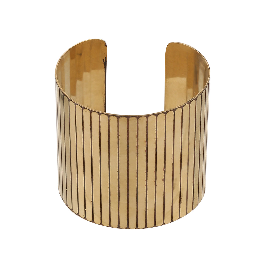 Fashion Open Wide Smooth Cut-Work Golden Cuff Handemade Bangle Bracelet - Line Design