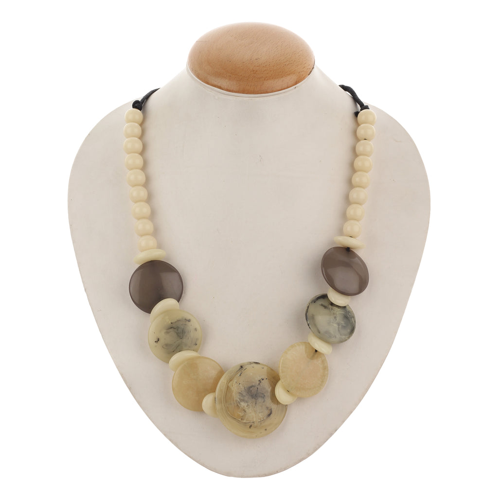 Western Wear White & Brown Resin Handmade Necklace with Beads