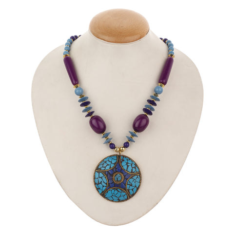 Western Wear Round Lac Pendant with Big Purple Specially Carved Beads Handmade Necklace