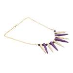 Western Wear Purple-White Handmade Necklace with Chain