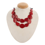 Resin Red Double Layered Fashion Handmade Necklace