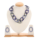 MENTHOME Long Necklaces for Women Acrylic Tortoise Link Blue Handmade Necklace Metal Oval Resin Chain Link Acetate Collar Necklace for Women and Girls