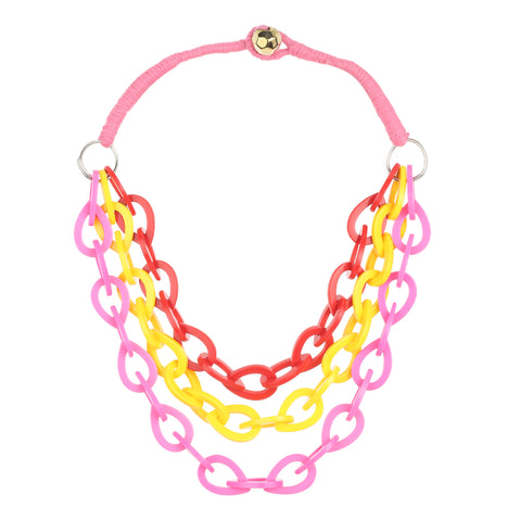 Twist Braided Handmade Chain Necklace Chunky Resin Statement Multicolor Chain
