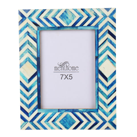 Handmade Blue Mosaic Chevron Art Picture Photo Frame | 7X5