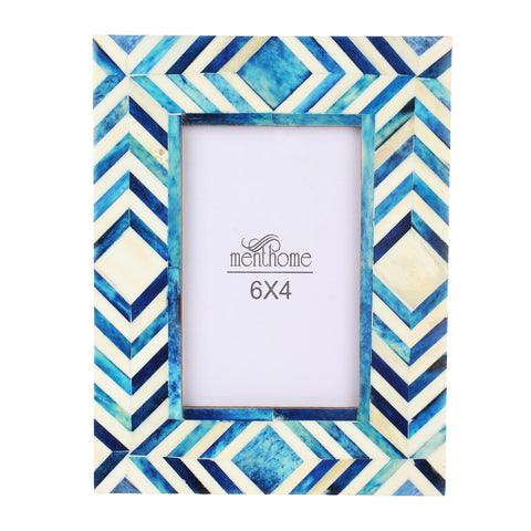 Handmade Blue Mosaic Chevron Art Picture Photo Frame | 6X4