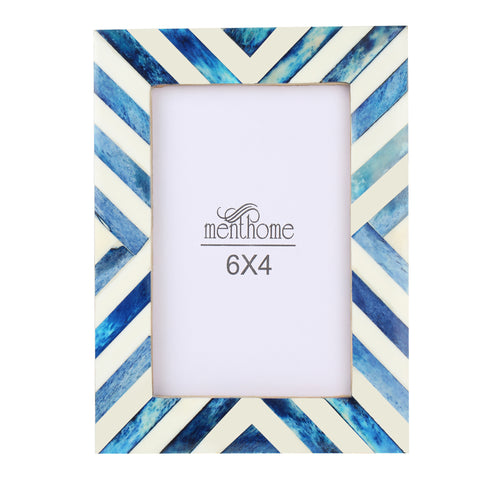 MENTHOME Blue 6x4 Picture Photo Frame Chevron Herringbone Art Wall Decor (Blue, 6X4)