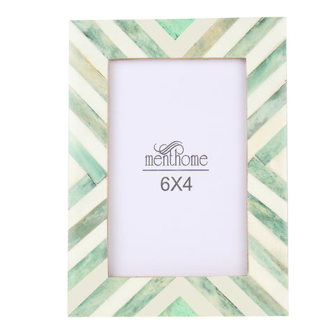 Green Picture Photo Frame Chevron Herringbone Art Wall Decor | 6X4