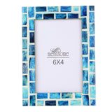Handmade Blue Mosaic Art Picture Photo Frame | 6x4