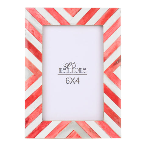 Red Picture Photo Frame Chevron Herringbone Art Wall Decor | 6X4