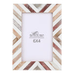 Brown Picture Photo Frame Chevron Herringbone Art Wall Decor | 6X4