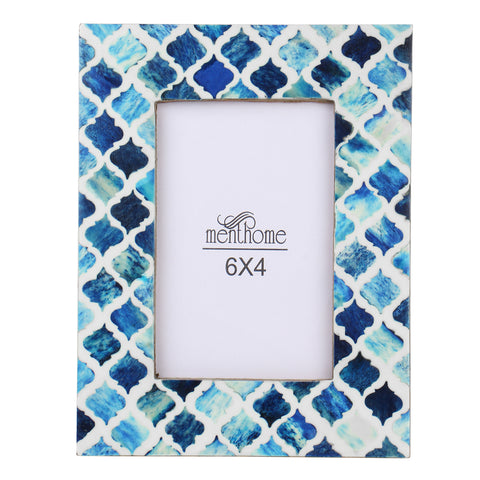 Blue Picture Photo Frame Damask Moroccan Art Wall Decor | 6x4