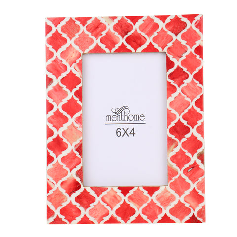 Red Picture Photo Frame Damask Moroccan Art Wall Decor | 6X4