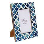 Handmade Blue Mosaic Quatrefoil Art Picture Photo Frame | 6X4