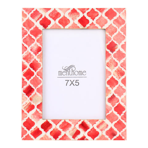 Red Picture Photo Frame Damask Moroccan Art Wall Decor | 7X5