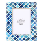 Blue Picture Photo Frame Damask Moroccan Art Wall Decor | 7X5