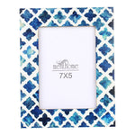 Handmade Blue Mosaic Quatrefoil Art Picture Photo Frame | 7X5