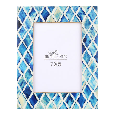 Handmade Blue Mosaic Diamond Art Picture Photo Frame | 7X5