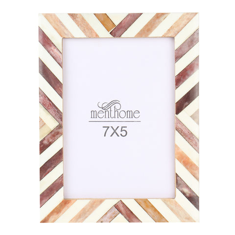 Brown Picture Photo Frame Chevron Herringbone Art Wall Decor | 7X5