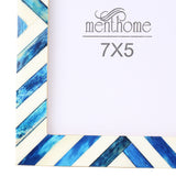 Blue Picture Photo Frame Chevron Herringbone Art Wall Decor | 7X5