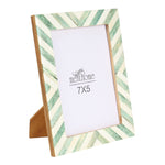 Green Picture Photo Frame Chevron Herringbone Art Wall Decor | 7X5