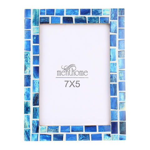 Handmade Blue Mosaic Art Picture Photo Frame | 7x5