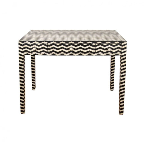 Chevron Pattern Bone Inlay console table