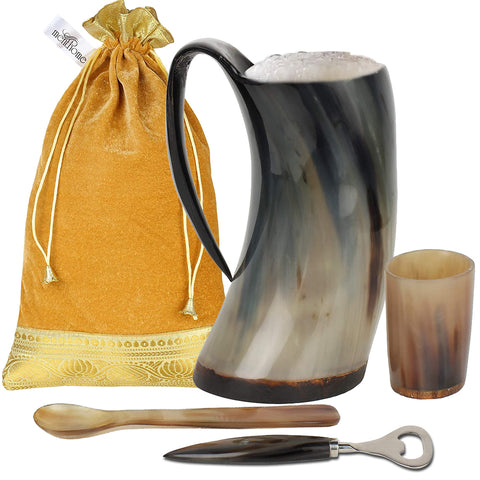 Game of Thrones Inspired Plain Drinking Horn Mug with Shot Glass
