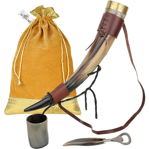 Viking Norse Style Drinking Horn Mug with Metal Stand and Brown Belt