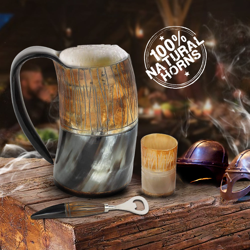 Game of Thrones Inspired Flame Treated Drinking Horn Mug with Shot Glass