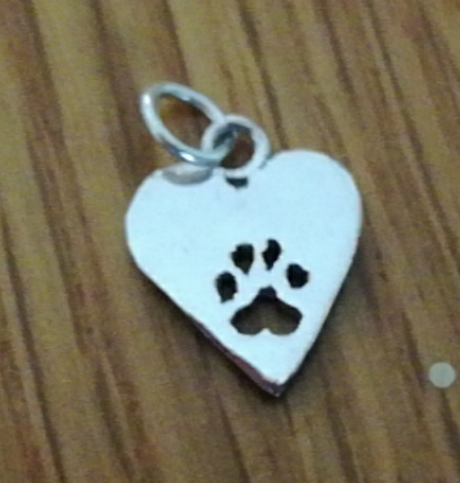 Heart with paw Charm