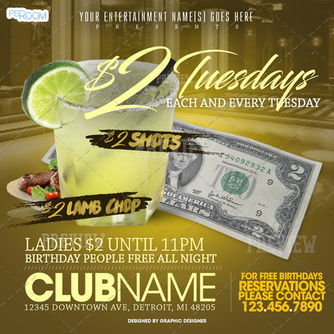 $2 Tuesdays Flyer