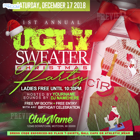 Ugly Sweater Xmas Party Flyer