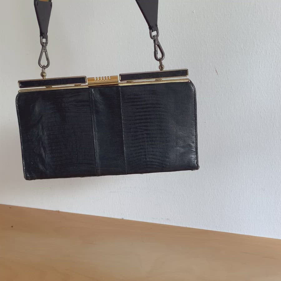 Vintage 50s Black Frame Kelly Bag with Spring Clasp Closure