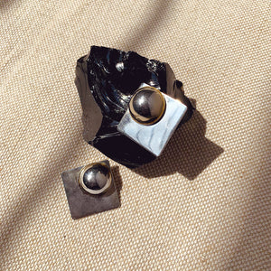 Vintage 80s Silver Abstract Clip-on Earrings