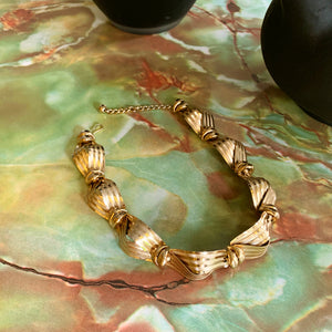 Vintage 80s Napier Ribbon Link Gold Tone Necklace