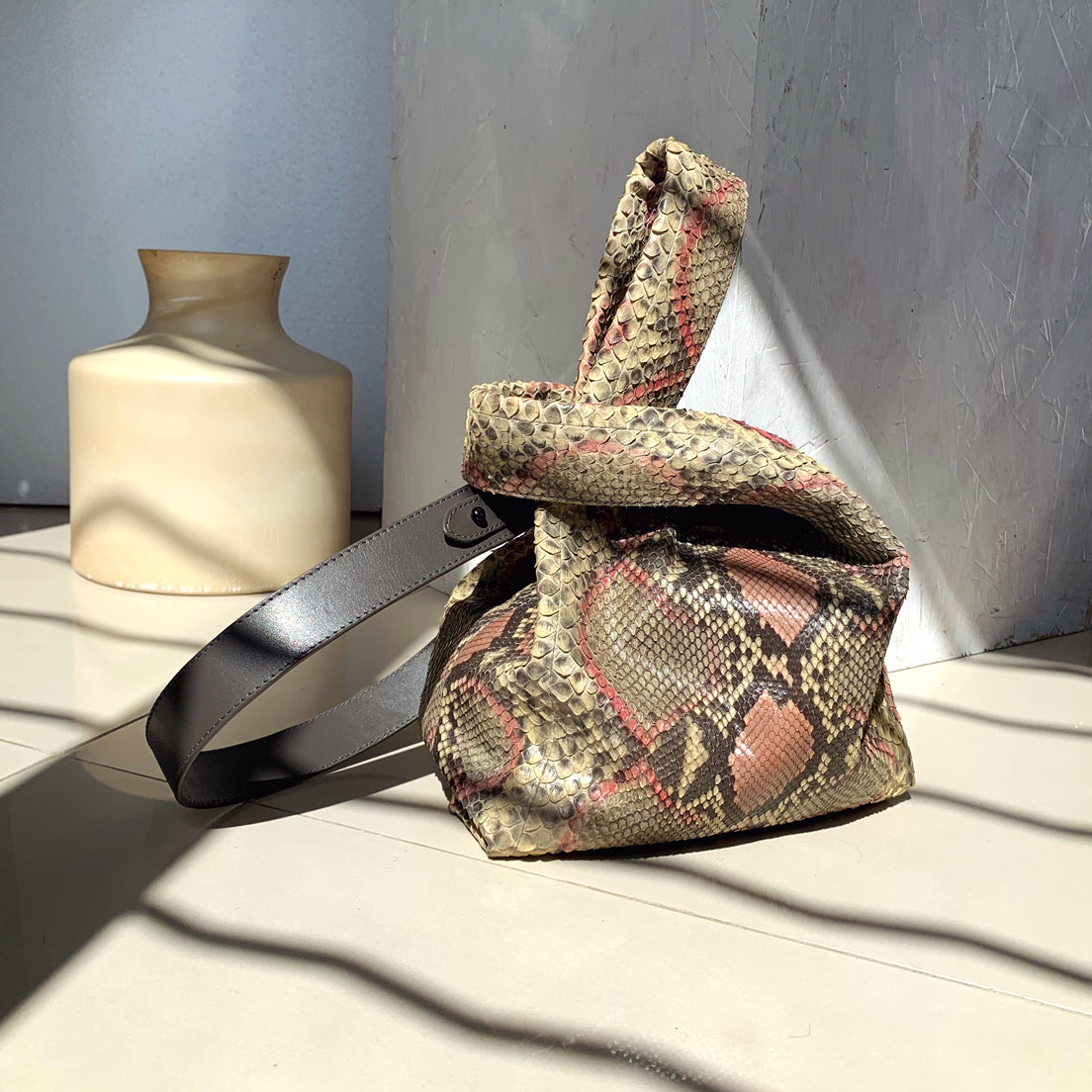 "Le Sac 8"" Python Pink and Grey mix"