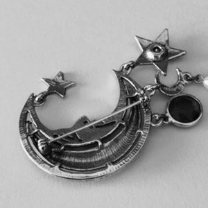 Vintage 80s Crescent Moon and Stars Charm Brooch