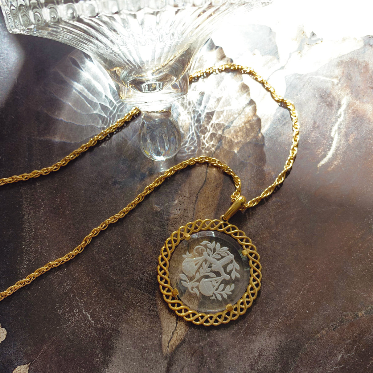 Vintage 50s Libra etched glass Necklace