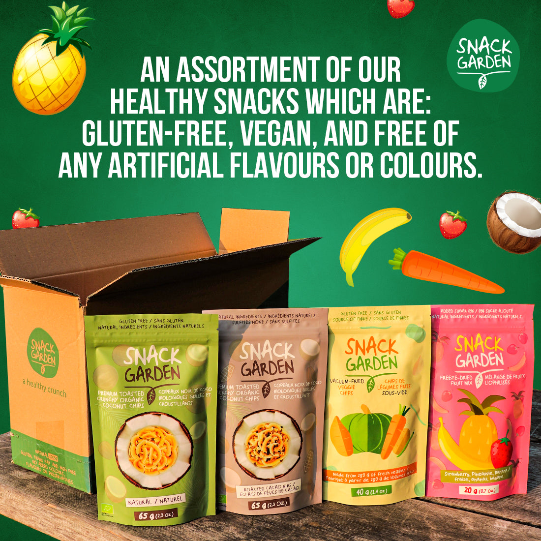 An assortment of our healthy snacks which are gluten-free, vegan, and all natural.